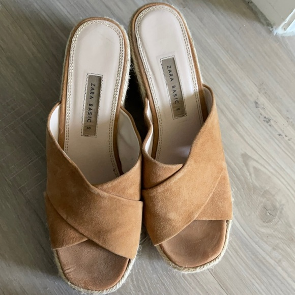 Zara tan platform shoes